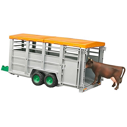 Bruder Livestock Trailer Vehicle with 1 Cow, Brown/Black, One (Livestock Trailer)