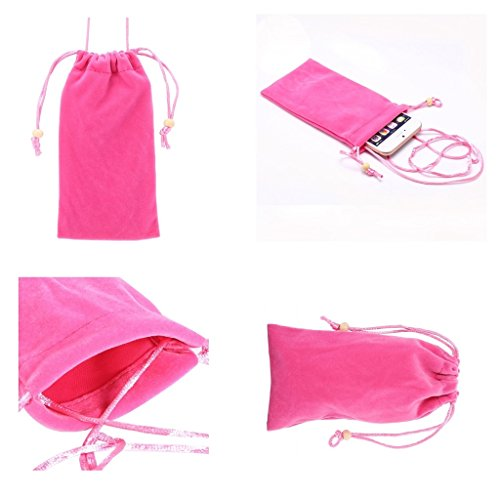 DFV mobile - Case Cover Soft Cloth Flannel Carry Bag with Chain and Loop Closure for => MITAC MIO EXPLORA K70 > Pink (Bag Chain Mia)