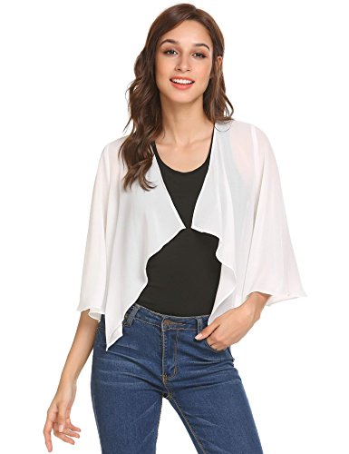 Pinspark Womens Georgette Half Sleeve Cover up Shrug Chiffon Cardigan Pure White - Front Georgette Dress