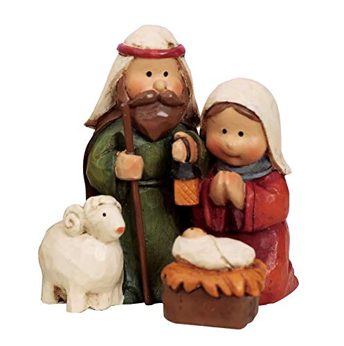 Holiday Aisle Christmas Nativity Scene Mini Resin Figurine in Red and Green with 2 Christmas Ornaments from Holiday Aisle