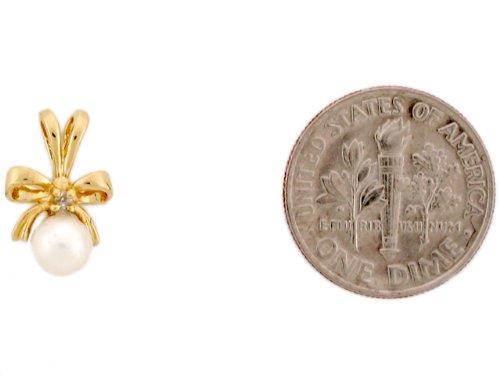 14ct Or Jaune Joli Pendentif Femme Noeud Serti D'une Perle Solitaire Et Diamant
