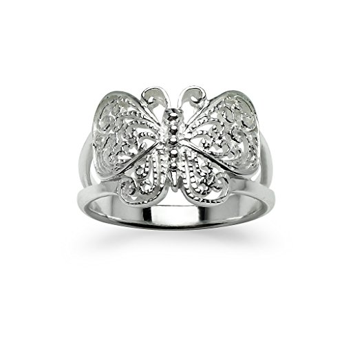 (Filigree Butterfly Sterling Silver Ring Size 8)
