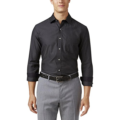 Tasso Elba Mens Herringbone Long Sleeves Dress Shirt Black (Herringbone Long Sleeve Dress Shirt)