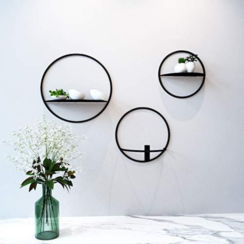 EIVD Round Decorative Frame Metal Wall Shelf Bedroom Living Room Wall Shelf DIY Wall Hanging Storage Rack (Color : A)