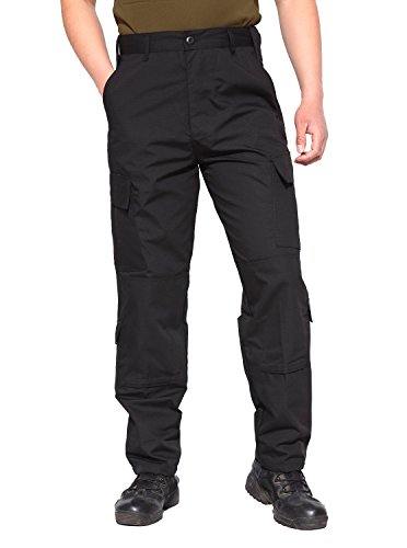 Army Combat Trousers (TACVASEN Mens Casual Military Army Style Cargo Camo Combat Work Pants Trousers 2XL Black)