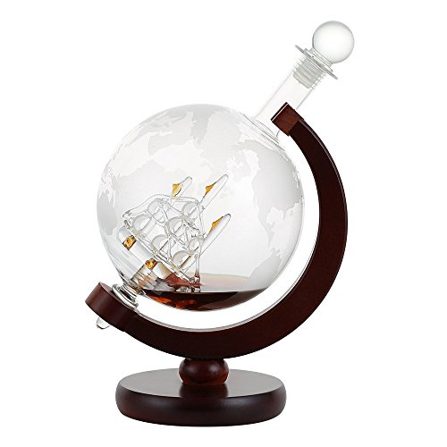 Whiskey Decanter For Spirits Liquor Decorative Etched World Globe Glass Fiberboard Stand With Crafted Glass Sailing Ship 1000ML by NEX