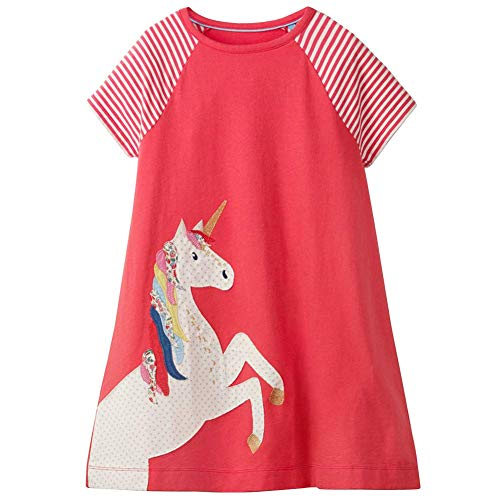Frogwill Toddler Girls Unicorn Summer Dress Short Sleeve Red 5t