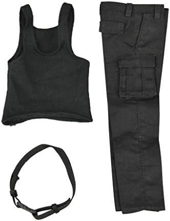 1/6  黒 ベスト ベスト&パンツ  ズボン  セット  服 12インチ 男性アクションフィギュア用