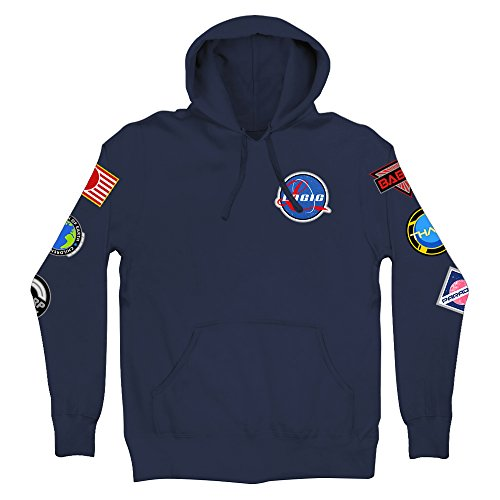 Logic Space Patches Pullover Hoodie Navy (Medium)