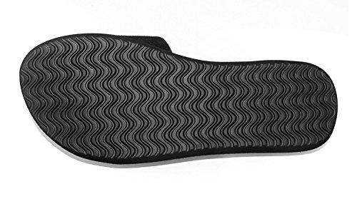 Las mujeres dama verano antideslizantes sandalias Casual zapatillas de casa Zapatillas de baño, rojo rosado, UK 5,5 Negro