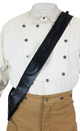 Historical Emporium Men's Western Plain Leather Bandolier .44/.45 Cal Black ()