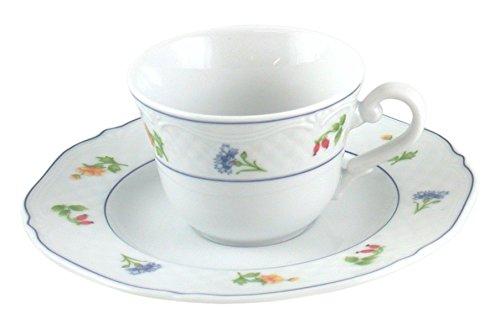 H&H 3278259Pengo Soleil Coffee Mug with Plate, 110cc, White/Blue