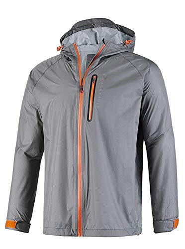 GEEK LIGHTING Rain Jacket for Men, Outdoor Zipper Waterproof Lightweight Raincoat Windbreaker with Hooded (Grey, XX-Large)