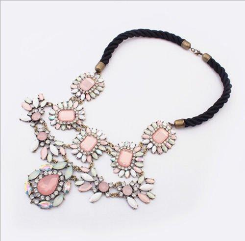 Hot Fashion Women Luxury Crystal Crew Pink Flower Pendant Bib Statement Necklace
