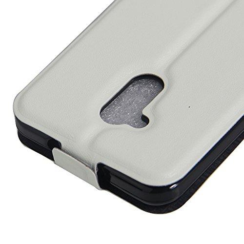 Para ZTE Blade A2 / Blade V7 Lite Caso compacto de piel PU, arriba-abajo piel abierta PU Funda de piel con ranura para tarjeta y función de protección completa con cierre magnético Caja a prueba de go Blanco