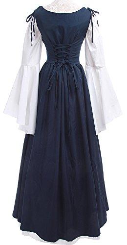 Lemail Womens Renaissance Medieval Irish Costume Irish Over Dress Boho Chemise Navy Blue L by Lemail wig (Image #5)