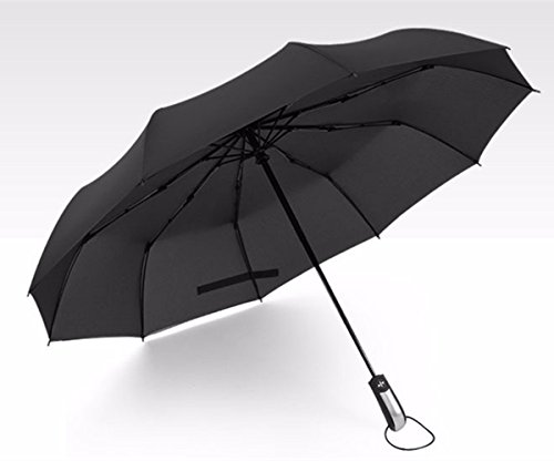 MOCOO Upgraded 10 Fibreglass Ribs Travel/Golf Umbrella Portable Folding Umbrella - Auto Open & Close Folding Black Umbrellas UM001