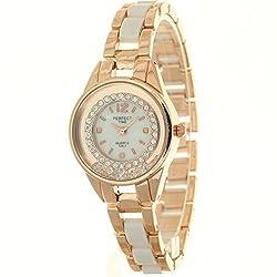 Timermall Blue Beaded Bracelet Circle Quartz Watches