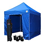 UNIQUECANOPY Pop up Canopy Tent Classic 8x8 Ez Instant Outdoor Party Portable Folded Commercial Shelter, with Wheeled Carrying Bag and 4 Removable Side Walls Blue
