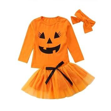 Toddler Baby Kids Girls Halloween Pumpkin Print Romper Skirt Outfits Set Clothes