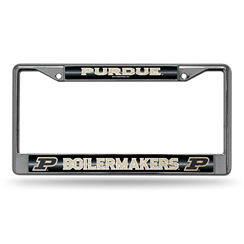 (NCAA Purdue Boilermakers Bling Chrome License Plate Frame with Glitter Accent)