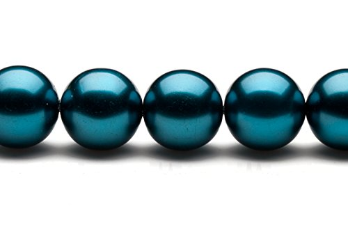 Blue Moon Glass Round Pearls (16mm round metallic-tone teal glass pearls pack of 32inch string)