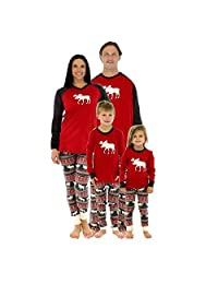 Imixshopps Christmas Family Elk Matching Sleepwear Deer Pajamas Set Nightwear