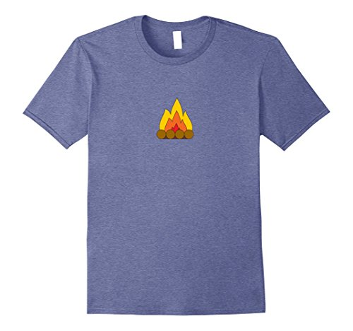 Mens Campfire Firepit Simple Shirt | MaterialTees Medium Heather Blue