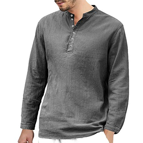 REYO Men Long Sleeve Tees Shirt Casual Baggy Cotton Linen Button Retro V Neck Pullover Summer Vest Top Blouse