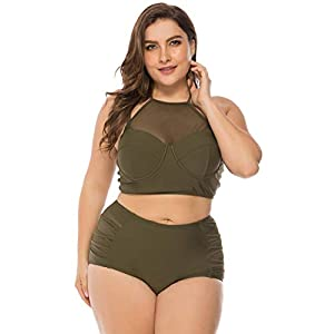 FeelinGirl Women's Plus Size Mesh Swimsuit Two Piece Pin up Tankini Swimwear