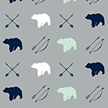 Bears Fabric - Bear and Arrows / Northern Lights by Jessica Prout - Bears Fabric with Spoonflower - Printed on Organic Cotton Knit Fabric by the Yard