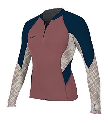 O'Neill Wetsuits Women's Bahia Front Zip 1mm Jacket, Rose/Slate, Size 6