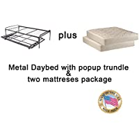 Metal Day Bed (Daybed) Frame & Pop up 33 Trundle with Great Firm Mattresses Included Package Deal!