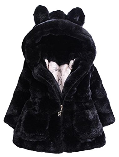 Mallimoda Girls Winter Warm Ear Hooded Faux Fur Fleece Jacket Coats Black 7-8 Years -