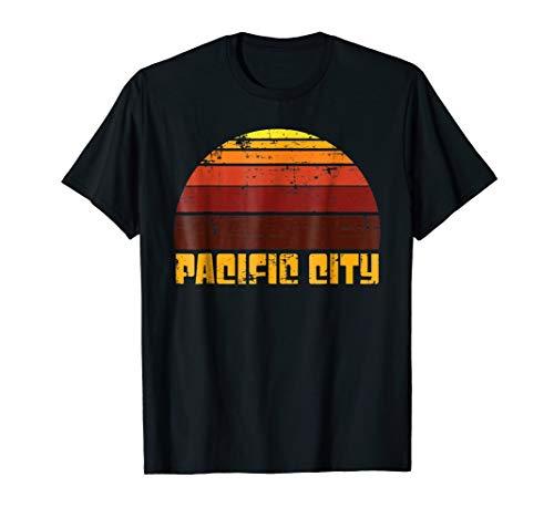Pacific City Sunset Beach Vintage Retro Vacation T Shirt