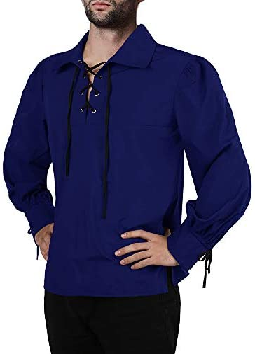Fueri Camisa medieval para hombre, camisa con cordones, manga larga, gótica, pirata, victoriano, steampunk, fiesta vikinga, carnaval, vintage, ...