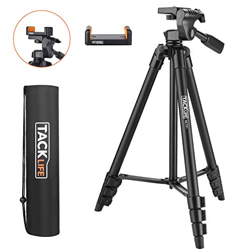 Lightweight Tripod 55-Inch, Aluminum Travel/Camera/Phone Tripod with Carry Bag, Maximum Load Capacity 6.6 LB, 1/4″ Mounting Screw for Phone, Camera, Traveling, Laser Measure, Laser Level
