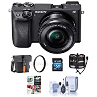 Sony Alpha a6300 Mirrorless Digital Camera Body Black 16-50mm Lens - Bundle 16GB Class 10 SDHC Card, Holster Case, 40.5mm UV Filter, Cleaning Kit, Memory Wallet, PC Software Package