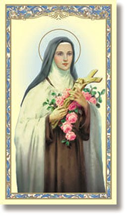 Saint Teresa/Therese Laminated Holy Card New Design