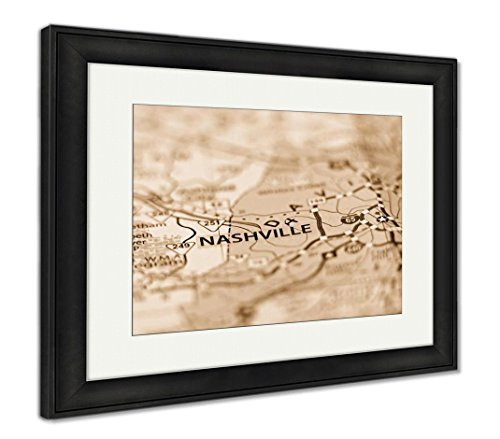Nashville Framed Tn (Ashley Framed Prints Nashville Tn Area Map Photo, Wall Art Home Decoration, Sepia, 26x30 (Frame Size), Black Frame, AG6464944)