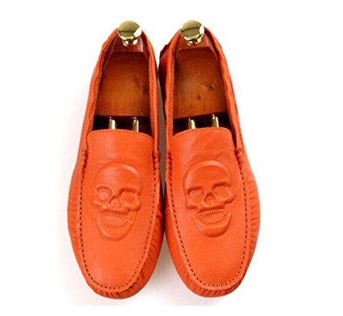 Folderable Shoes TM skull big Leather Loafers Orange Car Men Mens Driving Sneakers Flat Skull Slip on Happyshop Bw7HSq7