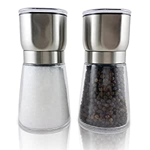 Tenby Living Salt and Pepper Grinder Set with Two Stainless Steel Top Glass G...