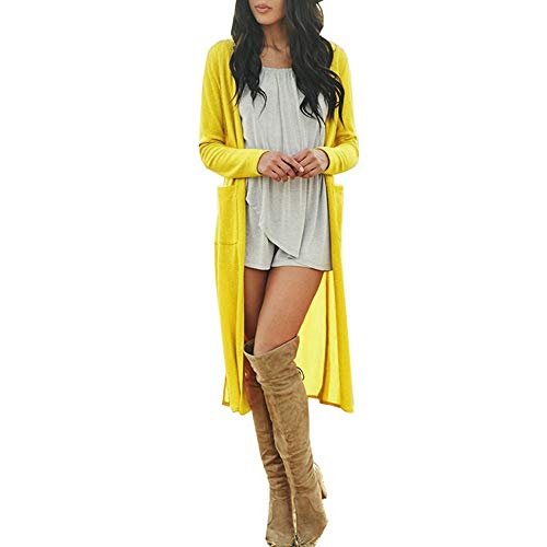 iDWZA Fashion Womens Casual Sexy Long Sleeve Open Front Patchwork Loose Cardigan Coat(Yellow ,US M/CN L) ()