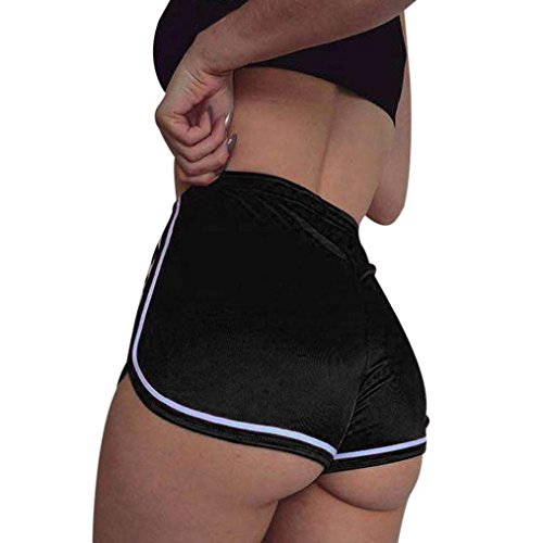 Women Summer Sports Shorts Daoroka Sexy High Waist Elastic Yoga Running Casual New Fashion Pocket Hot Pants (XL, Black) -