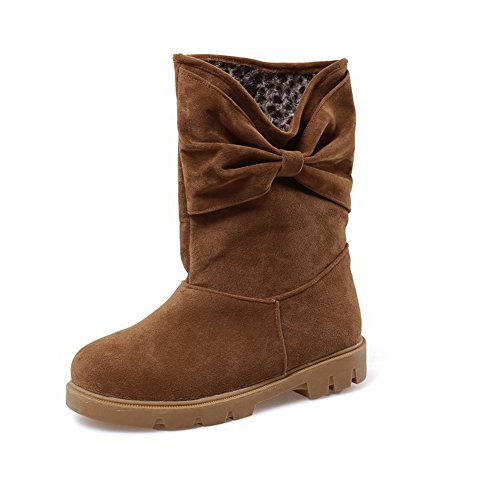Women's Closed Pull Boots Solid Low Frosted Round Heels Toe Allhqfashion On Brown 1wqXp1d
