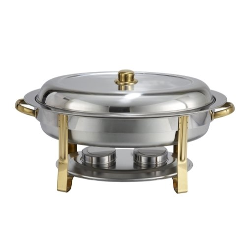 (Winware 6 Quart Oval Stainless Steel Gold Accented Chafer, set of)