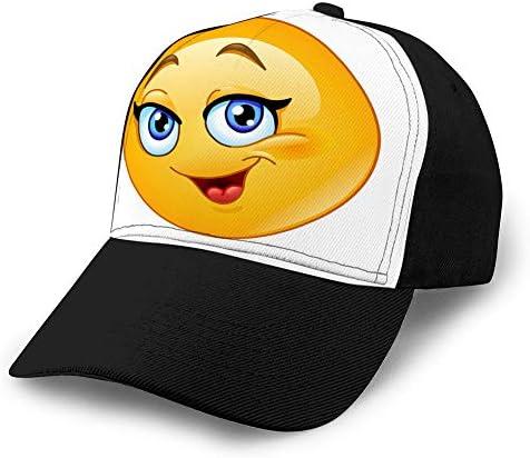 ncnhdnh 715 Gewaschene gefärbte Hüte Baseballmützen Verstellbare glückliche weibliche Emoticon Baumwollhut