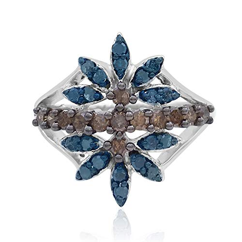 (0.80 Cttw Round Cut Color Enhanced Blue & Champagne Natural Diamond Sterling Silver Floral Dainty Ring)