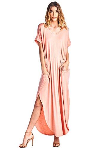 12 Ami Solid V-Neck Pocket Loose Maxi Dress Blush XXL