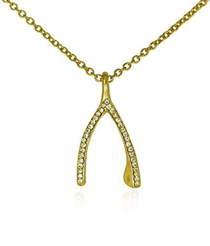 Wishbone Crystal Necklace Gold Tone Women's Lucky Charm Fashion Jewelry
